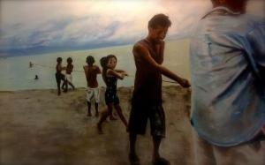 lingayen villagers, fishing, laughing